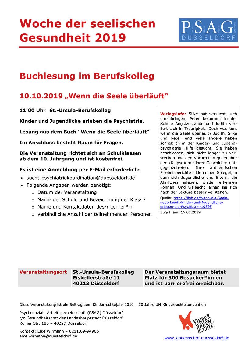 Infoblatt zur Buchlesung im Berufskolleg